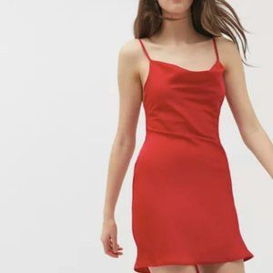 UO Mallory Cowl Neck Red Slip Dress